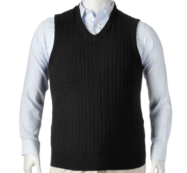 Nwt Dockers Black Cable Knit Sweater Vest Men' L-tall