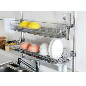 kitchen drying rack shaker style cabinets stainless fixing double shelf dish drainer dryer tray image is loading