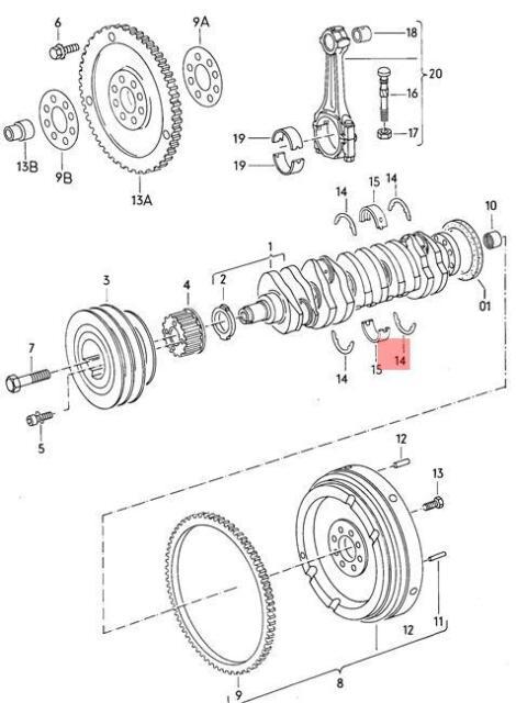 Genuine Set Of Thrust Washers Bearing 4 AUDI VW Audi 100