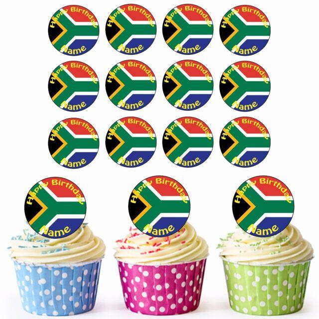 South African Flag 24 Personalised Pre Cut Edible Birthday Cupcake