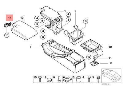 Genuine BMW E46 Cabrio Compact Center Console / Armrest