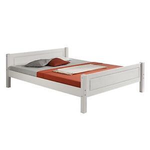 details sur lit simple 120 x 200 cm pin massif lasure blanc