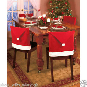 ebay uk christmas chair covers swivel experiment pack of 4 santa hat dining xmas decoration