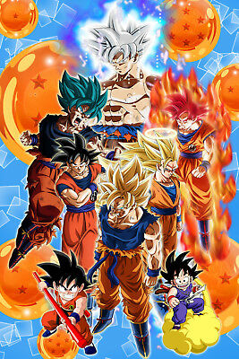 God Animation Wallpaper Dragon Ball Z Super Poster Goku From Kid To Ultra 12in X