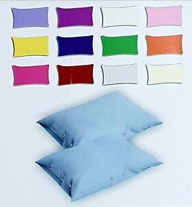 coppia federe cuscini letto con bottoni in cotone tinta unita guanciale 52x82 cm  eBay