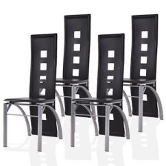 Set Of 4 Dining Chairs Slim Recliner Uk Pu Leather Steel Frame High Back Home Image Is Loading