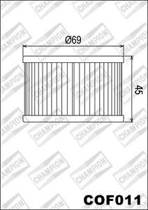 COF011 Oil Filter CHAMPION Honda Atv TRX400 Fa Fourtrax