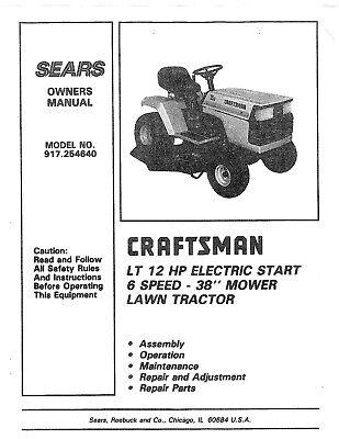 CRAFTSMAN TRACTOR LT 12HP MODEL # 917254640 OWNER PARTS