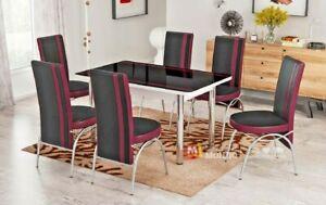 tavoli e sedie da giardino. Tavolo Allungabile Sala Da Pranzo E Cucina Con Sei Sedie Design Moderno Elegante Ebay