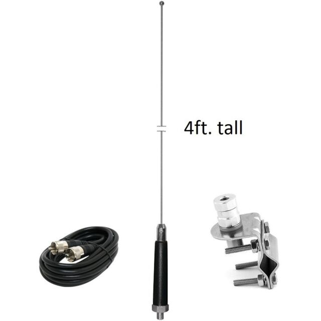 4ft CB Steel Antenna 400W with Mirror Mount RG58 PL259