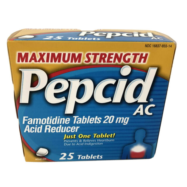 Pepcid AC Heartburn Maximum Strength 25 Tablets Famotidine ...