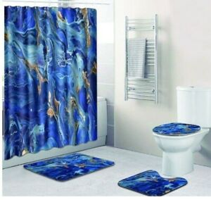 details about royal blue marble bathroom shower curtain toilet seat cover rug set