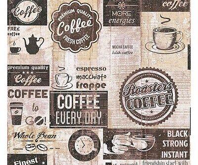 Création carta da parati vintage blooming carta da parati tessuto non. Carta Da Parati Per Cucina Caffe Vintage Brown Di Alta Qualita Effetto Legno Ebay