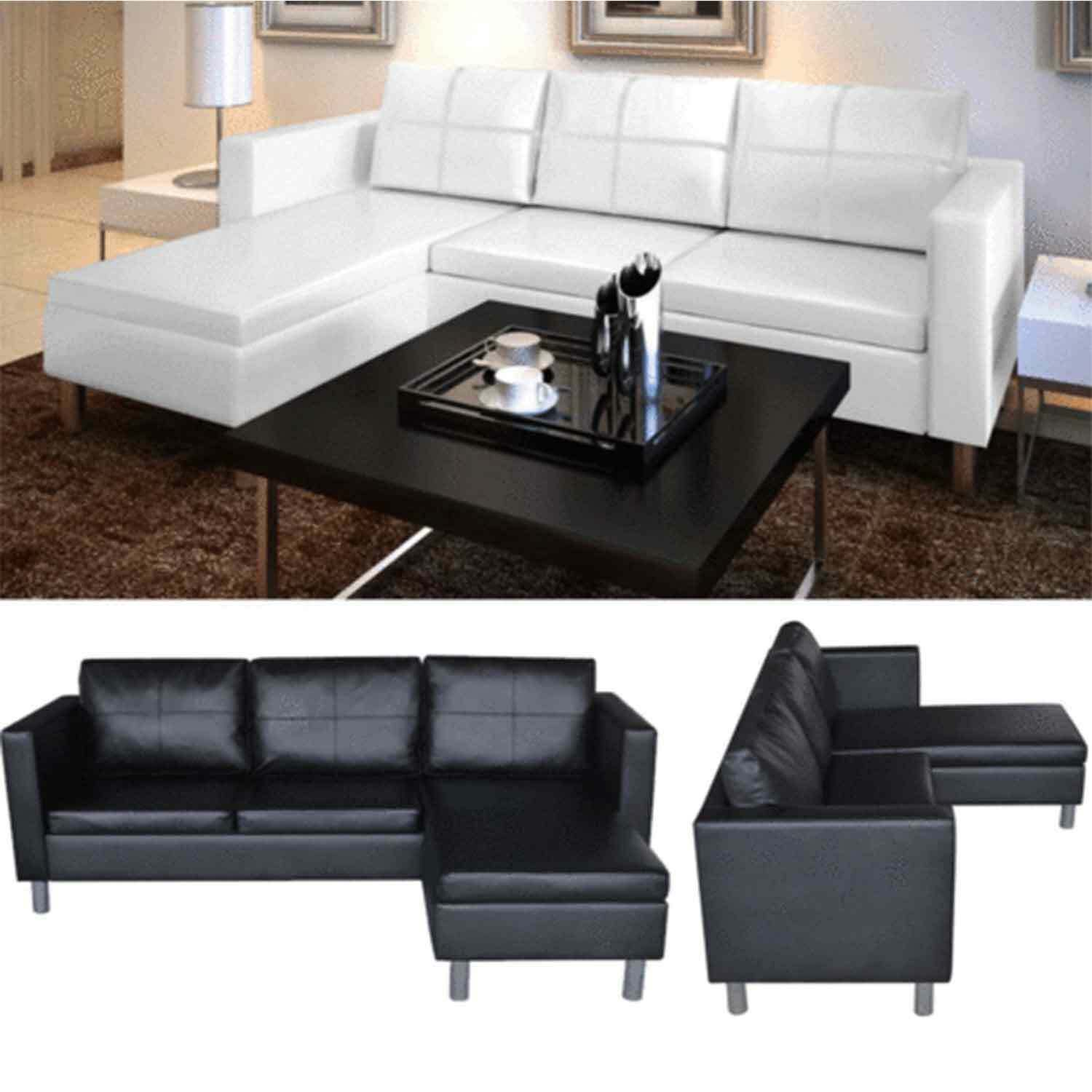 leather sectional sofa 3 seater l shaped chaise lounge living room couch bed set