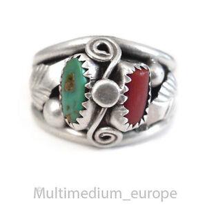 Navaho Navajo Indianer Ring Silber Koralle Trkis Feder silver coral turquoise  eBay