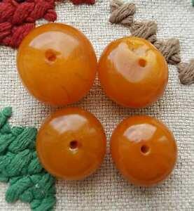 Amber antique Mongolia rare Huge Donuts egg yolk bead 19gramm , bernstein
