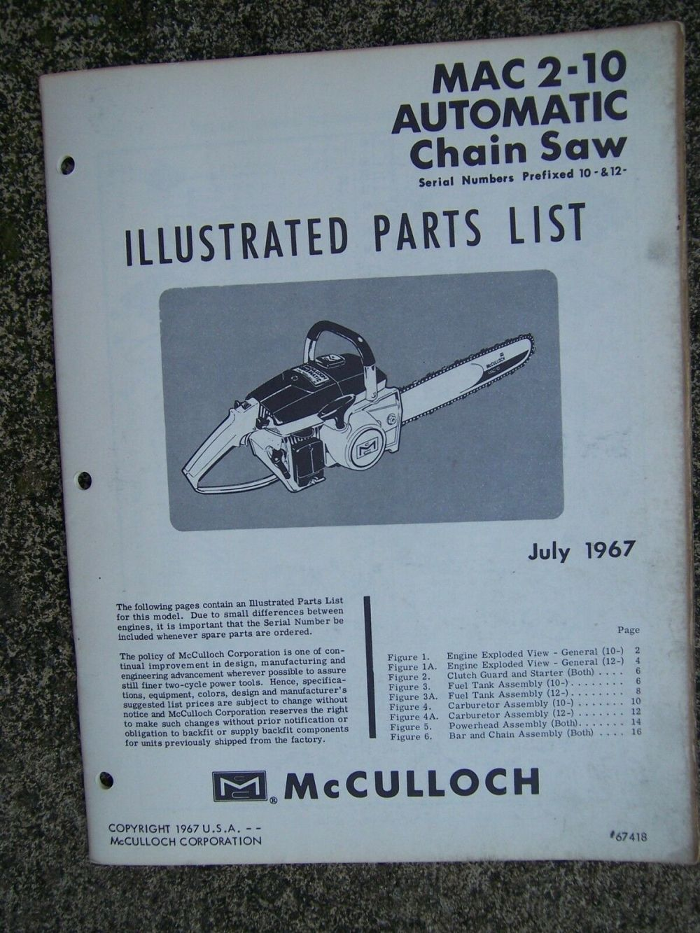 medium resolution of 1967 mcculloch mac 2 10 automatic chain saw illustrated parts list power tool v