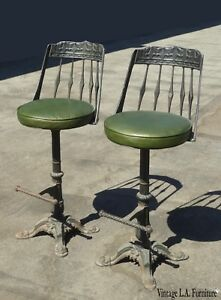 swivel chair in spanish target tufted rollback slipper set of two vintage style green cast iron bar stools