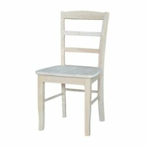 unfinished kitchen chairs metal table sets set of 2 dining madrid ladderback solid wood image is loading