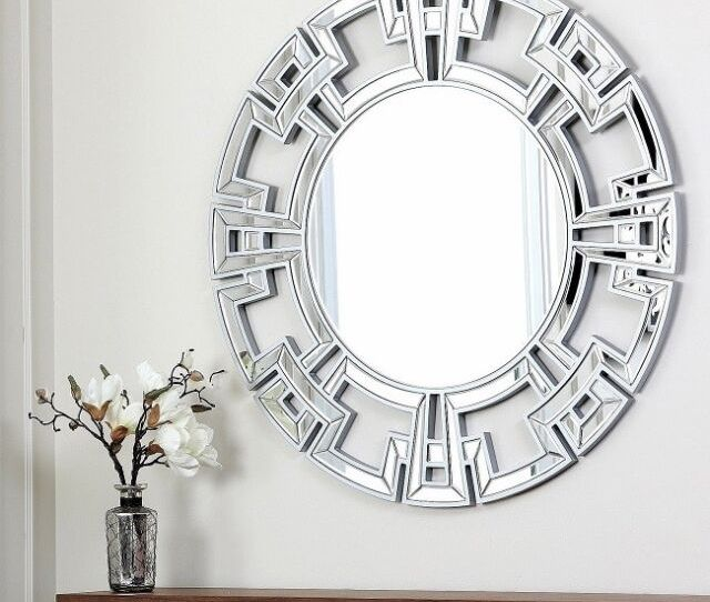 Wall Mirror Large Round Silver Framed Tile Mosaic Modern Contemporary Home Decor For Sale Online Ebay