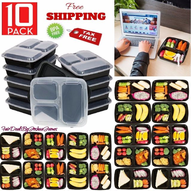 10 Meal Prep Containers 3 Compartment Plastic Food Storage Microwavable Reusable 2
