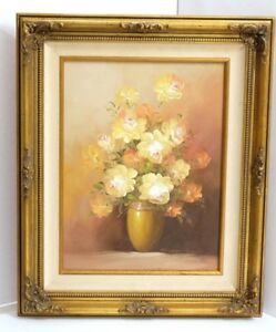 Robert Wood Painting 1956 : robert, painting, Robert, Signed, Yellow, Orange, Roses, Original, Painting, Gilded, Frame