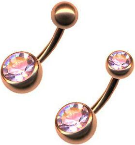ROSEGOLD DOUBLE JEWELED BAUCHNABELPIER