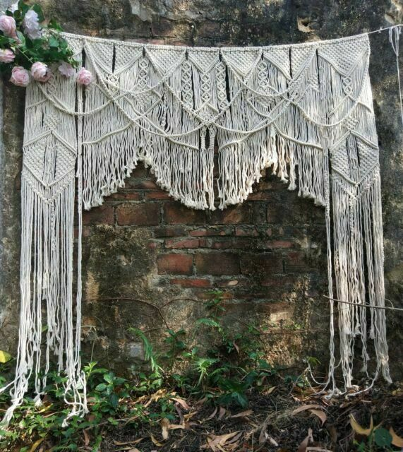 handmade macrame wedding backdrop large 70 w x 78 l wall art 1pc gray