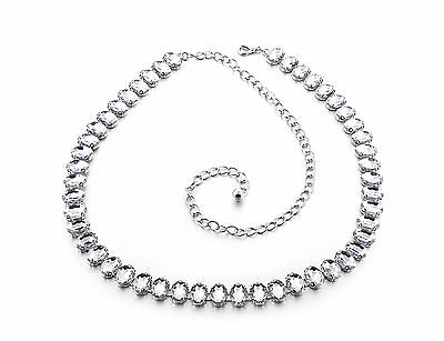Ladies Girls Silver Rhinestone Belt Waist Chain Diamante