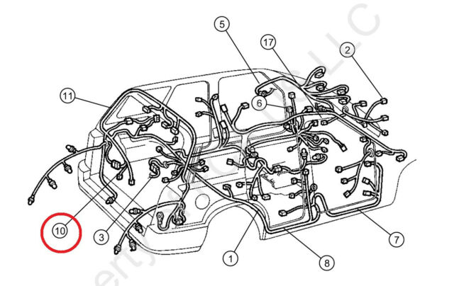 NEW Jeep Liberty 2002-2004 Tailgate Wiring Harness