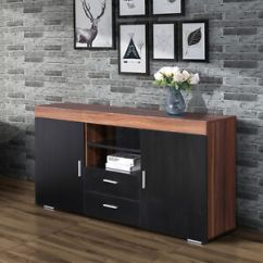 Kitchen Console Table Bench 57 Black Wooden Storage Cabinet Sideboard Buffet Cupboard Image Is Loading 034