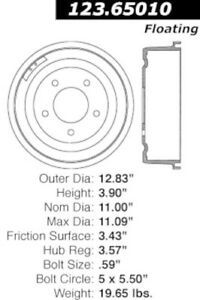 Brake Drum Front Centric 123.65010 fits 68-72 Ford F-100