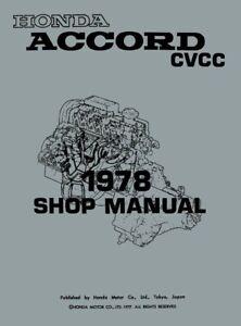 1978 Honda Accord CVCC Shop Service Repair Manual Engine