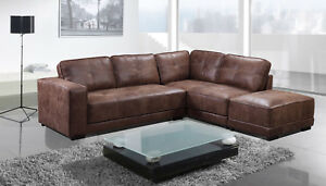 sofas leather cheap durablend antique sofa new carlton large tan corner with footstool image is loading
