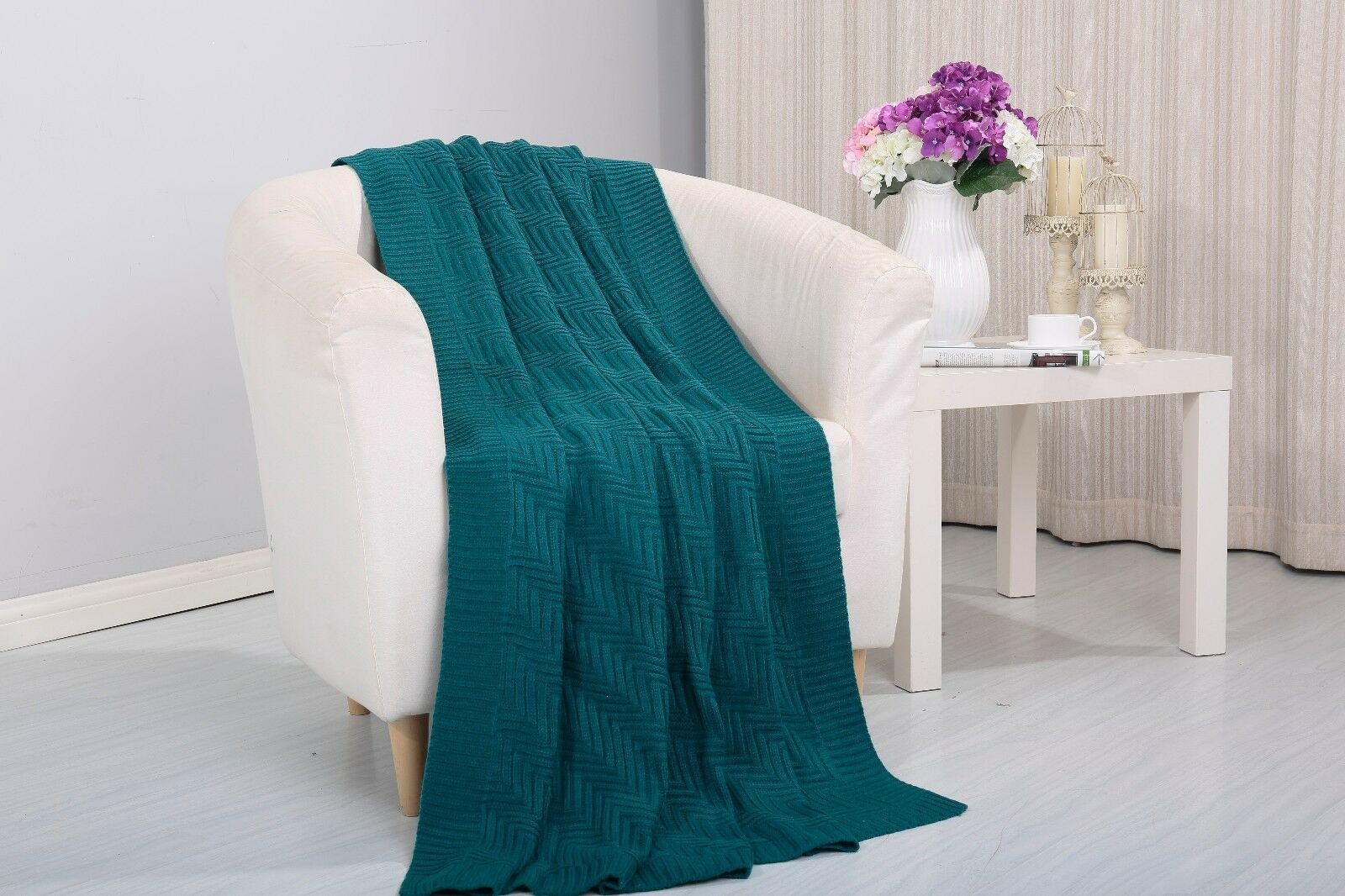 Soft Plush Pietra Knitted Fabric Throw Coverlet Couch