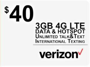 Verizon Wireless Sim Card 4G LTE includes First Month $40
