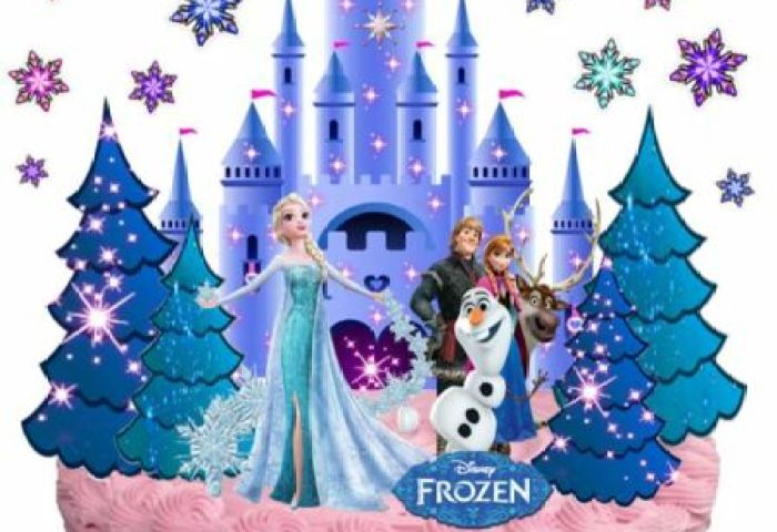 Disney Frozen Ice Castle Anna Elsa Olaf Wafer Stand Up Birthday Cake