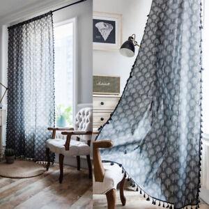 details sur boho gland rideau coton lin salle a manger rideaux fenetre rideaux traitements