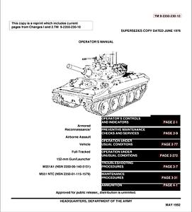 M551A1 SHERIDAN TANK AR/AAV Maintenance Operator Repair
