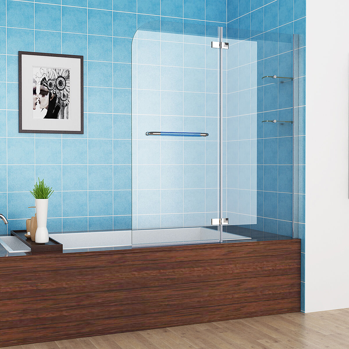 120 X 140 Cm Badewannen 2 Tlg. Faltwand Aufsatz 180° Duschwand
