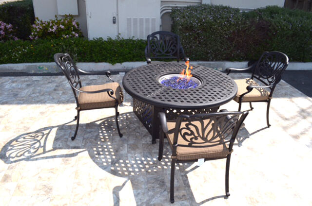 outdoor propane fire pit 5 piece set 52 round table 4 elisabeth dining chairs