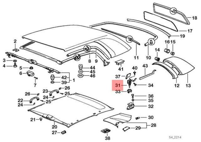 Genuine BMW E36 Cabrio Left Center Console Armrest Lock