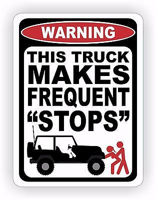 Funny Decals For Lifted Trucks : funny, decals, lifted, trucks, Warning, Truck, Makes, Frequent, Stops, Decal, Sticker, Funny, Diesel, Offroad