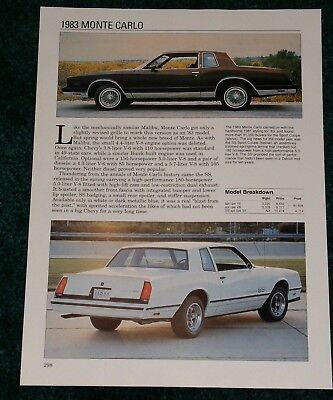 1983 Monte Carlo : monte, carlo, Chevy, Monte, Carlo, Folha, Especificações, Sport
