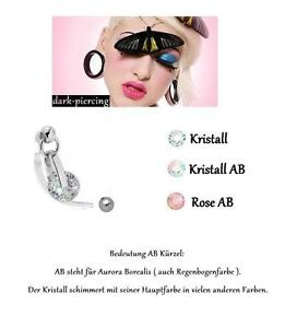 TOP*Exclusiver Kristall Drop Hänger Intimpiercing (Christina) 1,6 x 35mm kürzbar