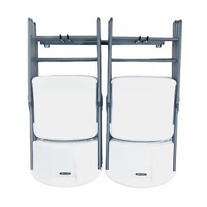 folding chair wall rack acrylic ghost with chrome frame monkey bar storage small garage image is loading