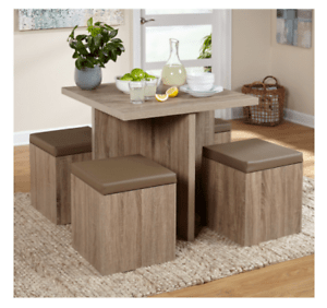 small kitchen table and chairs set wood folding chair compact dining studio apartment storage ottomans image is loading