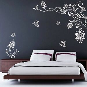 wall stickers living room townhouse decorating ideas butterfly vine flower decals vinyl art image is loading