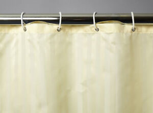 details about new shower curtain satin stripe white cream 100 polyester