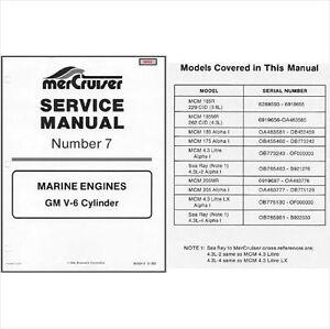 83-93 MerCruiser #7 GM V-6 Cylinder Marine Engines Service